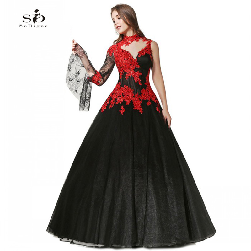 Black And Red Wedding Gowns: Black And Red Lace Appliques Wedding Dresses 2017