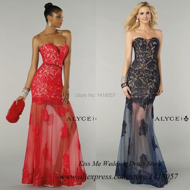 Vestidos de Menina Red Black Lace Prom Dress for Girls Long Mermaid ...