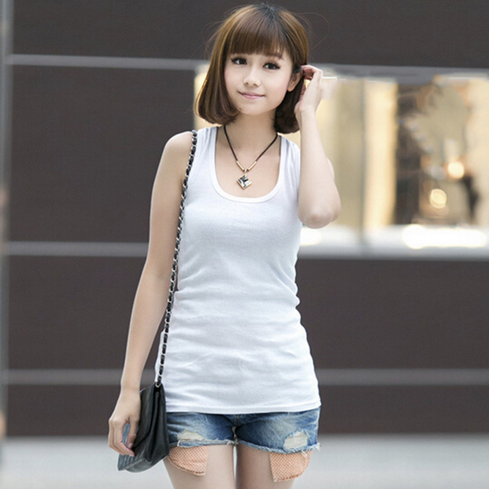 Fashion Women's Solid Color Short Cotton T-shirt Sleeveless Camisole Tops Sexy Low-cut Basic T-shirts Tank Tops