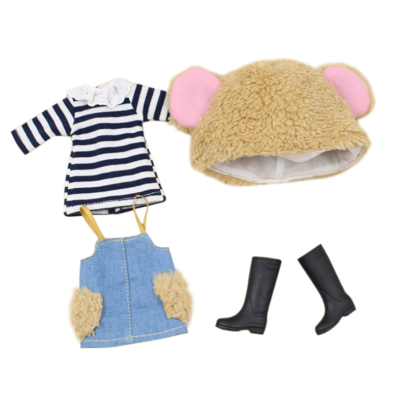 Blyth Dolls Clothes Braces Skirt, T-shirt, Hat, Blyth Dress  Suitable Blyth 1/6 Doll Normal , Joint ,azone ,licca Body,icy Doll
