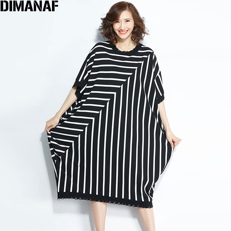 5b7542792e1 DIMANAF Plus Size T Shirt 2018 Hole Summer Women Cotton Striped Oversize Fashion  Casual Patchwork Loose Black Style New T Shirt-in T-Shirts from Women s ...