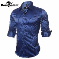 PoniGalant High Quality Silk Cotton Men Shirts Fashion Long Sleeve Brand Printed Male Clothing Plus Size