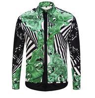 hot sale Autumn Flower Stripe Men Shirts Casual Shirts Turn down Collar Print high quality