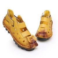 2016 Summer New Soft Bottom Flat Genuine Leather Women Shoes Personality Leisure Women Sandals Retro Handmade