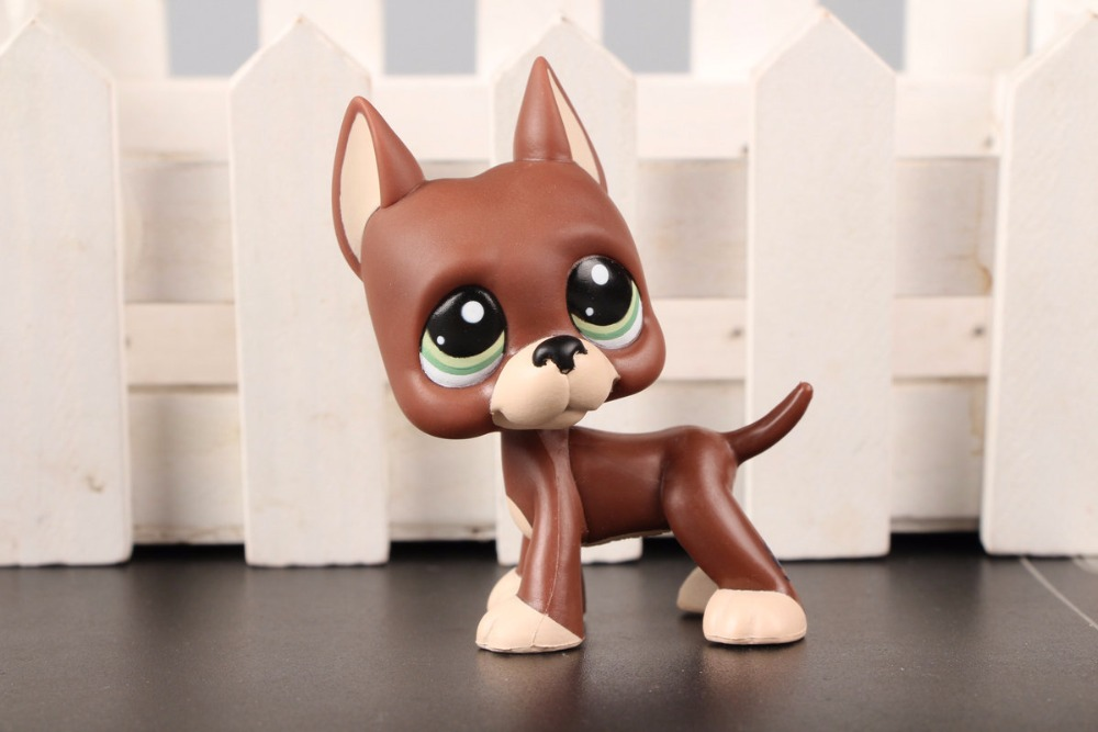 New Pet Collection Figure LPS #1519 Brown Great Dane Dog Puppy Blue Dot Eyes Kids Toys pet shop toys dachshund 932 bronw sausage dog star pink eyes