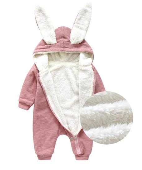 Toddler Baby Warm Bunny Ear Rompers Autumn Winter cute Rabbit Style Jumpsuit Cotton first walker Hare Playsuits Hooded Clothes new baby kids autumn winter warm cotton beanie hat toddler girls boys caps cute baby cartoon bear ear beanies 1pc f011