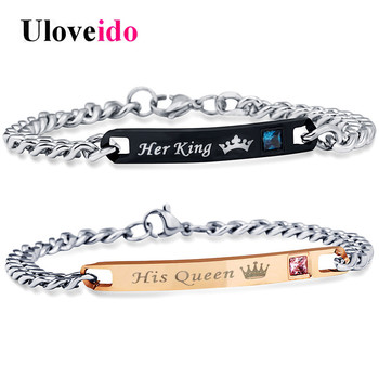 Uloveido Her King His Queen Bracelets for Women and Men Jewelry Stainless Steel Bracelet Couple Wedding Jewellery 35% off SN116