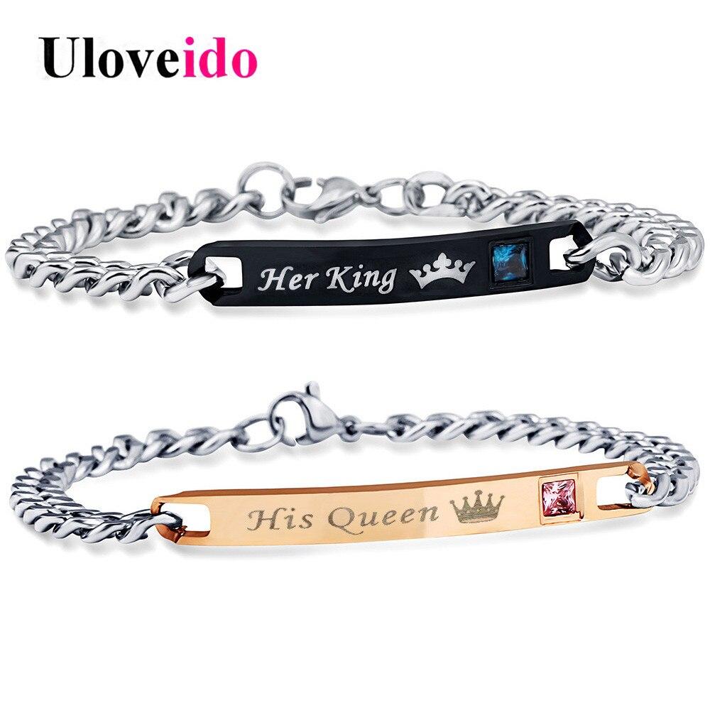 Uloveido son roi sa reine bracelets pour femme et hommes bijoux en acier inoxydable Bracelet Couple bijoux de mariage 35% off SN116