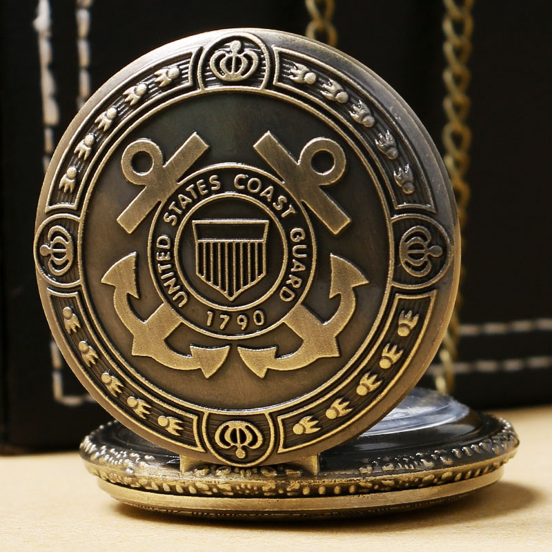 Necklace Pendant Retro Antique 1790 United States Coast Guard Pocket Watch Men Gift For Soldiers Sailors Dad