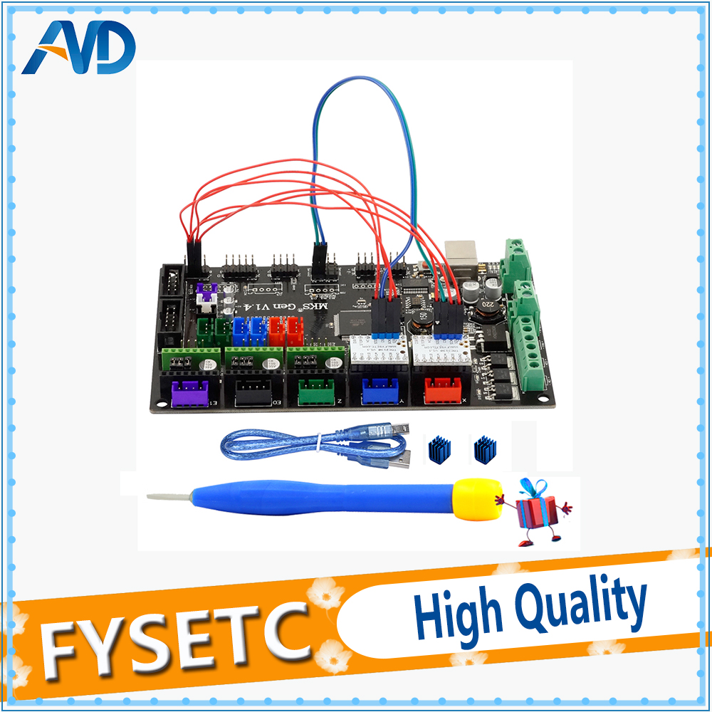 1pc 4 layers PCB controller board MKS Gen V1.4 integrated mainboard compatible Ramps1.4/Mega2560 R3 With 2pcs TMC2130 V1.1 Set mks gen l v1 0 integrated mainboard mks gen l v1 0 compatible ramps1 4 mega2560 r3 with 5pcs tmc2100 v1 3 stepper drivers
