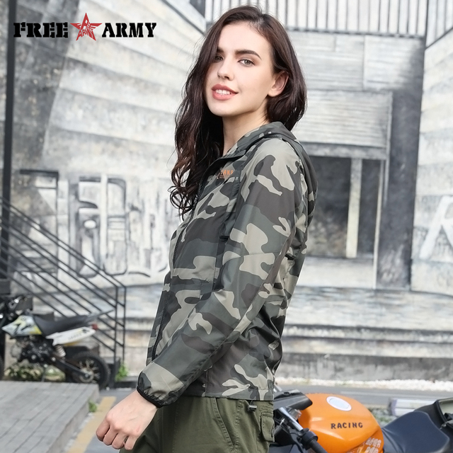 FreeArmy Brand Stylish Jacket Women Hooded Lightweight Jackets Female Camouflage Jackets For Lady Coat with Breath Hole Spring