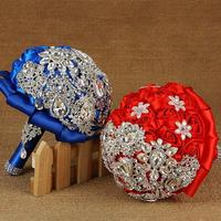 Europese Amerikaanse Populaire Pure Kleur Bruid Bedrijf Bloemen Sieren Diamant Lint Rose Bruidsboeket Prachtige Handgemaakte L50
