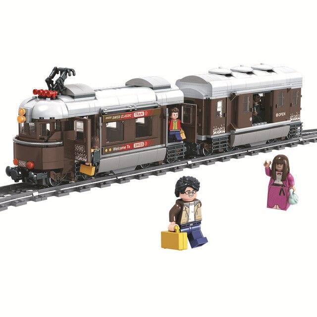 Winner 5090 Switzerland Classic Train City Technic Model Building Blocks Bricks Kids DIY Toys For Children Educational