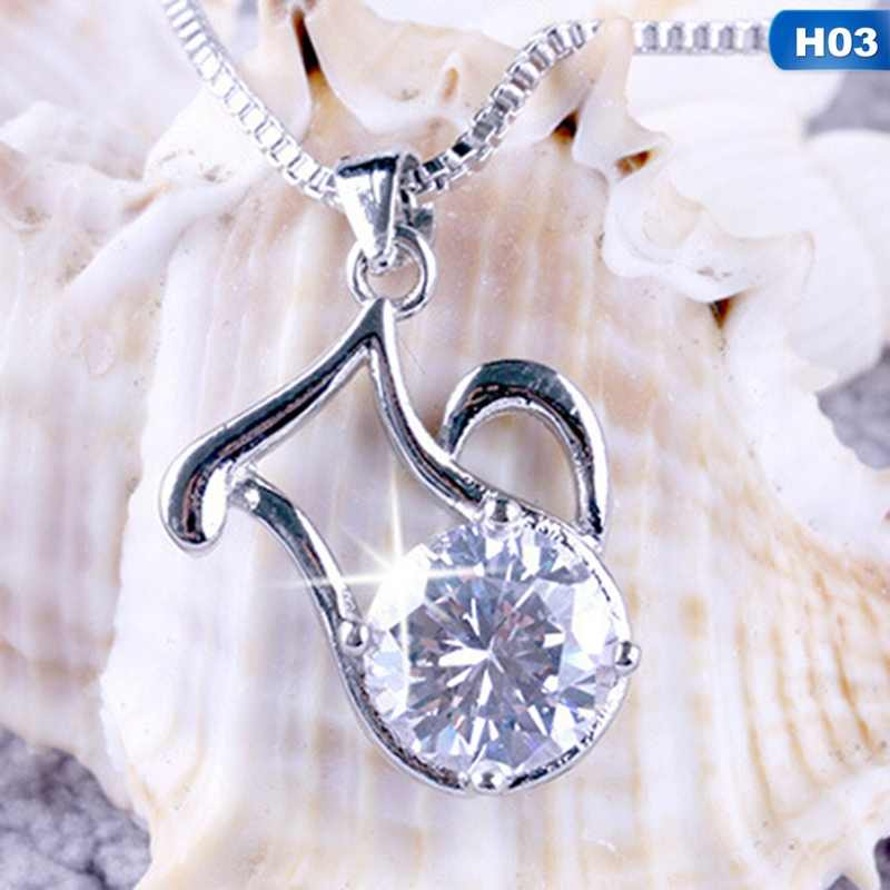 New 12 Constellation Silver Plated Pendant Zodiac Necklace Wedding Jewelry Heart Crystal Pendant Necklaces Gifts For Women