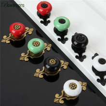 High Quality Vintage Retro Ceramic Door Knob Bronze Wardrobe Cabinet Drawer Pull Kitchen Cabinet Handle Ceramic Cupboard Handle цена