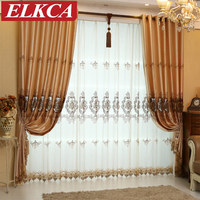 European Royal Golden Embroidered Chinese Curtains for Living Room Bedroom Curtains Window Treatments Drapes Luxury Curtains
