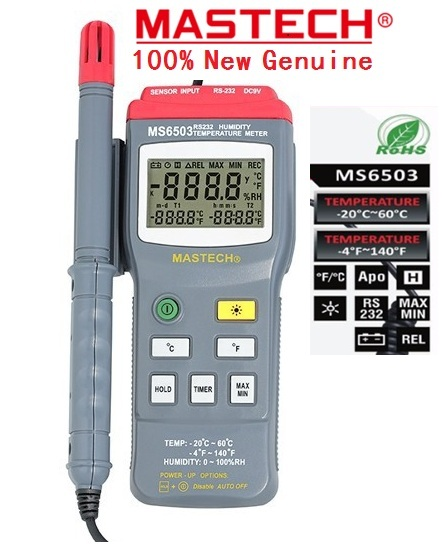 2018 Mastech Ms6503 New Digital Thermo Hygrometer Thermometers Temperature Humidity Meter Tester W Timer & Rs232 Interface high accuracy mastech ms6506 digital thermometers temperature gathering table meter