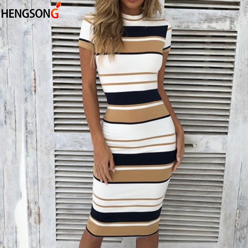 Vintage Striped Package Hip bandage dress Slim Knee-Length Autumn O neck Bodycon Dresses
