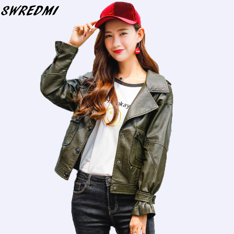 SWREDMI 2019 Spring And Autumn Sweet High Street   Leather   Coat Women Army Green   Leather   Clothing Basic Female Jackets