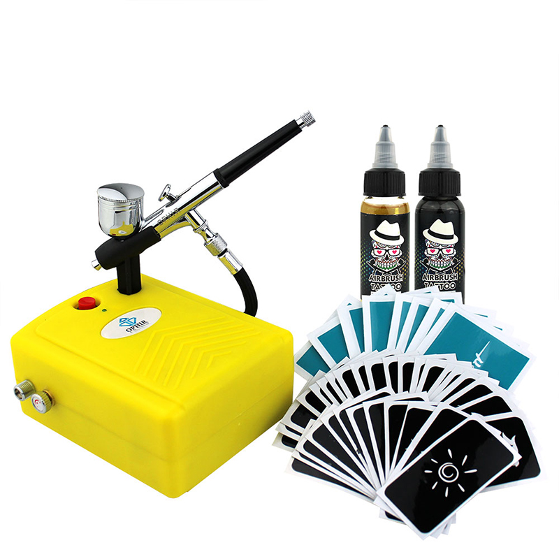 OPHIR Airbrush Kit with Air Compressor 20 Stencils Black Ink Finalized Ink for Body Painting Temporary Body Art Tattoo _OP-BP004 ophir pro airbrush compressor 110v 220v with fan
