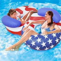 182 cm Giant American Flag Women Double Swimming Ring Adult Inflatable Pool Float Air Mattress Lounger Boia for Grownups,HA004