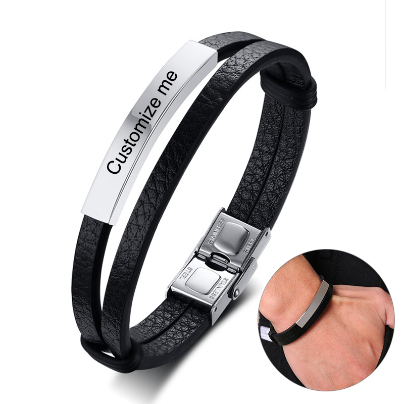Personalized Genuine Leather Bracelets for Men Women Stainless Steel ID Bar Custom Name Date Adjustable Length Male Pulseira(China)