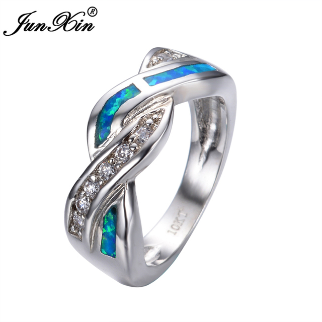 Hot! New Fashion Crossed Big Women Ring Gold Filled Geometric Opal Engagement Rings For Women Jewelry Bijoux RP0030