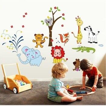 60*90 Cm PVC Animal Lion éléphant Vinyle Stickers Muraux Bricolage Jungle  Zoo Safari Pépinière Bébé Enfants Chambre Décor