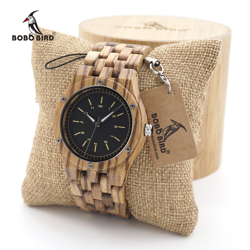 лучшая цена BOBO BIRD Zebra Wood Men's Date Time Week 24 Hours Wooden Watches Round Quartz Watch With Gift Wood Box custom logo