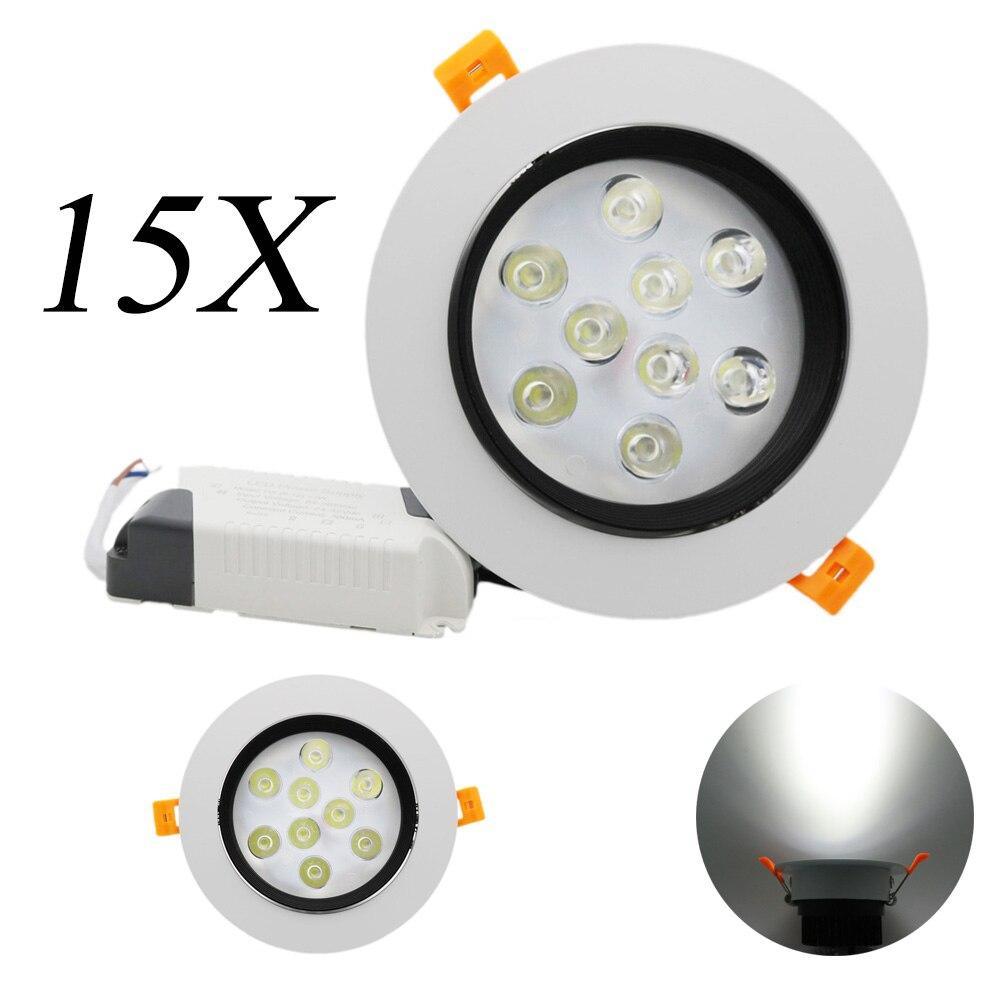 15Pcs 9W LED Ceiling Lamp Spot AC 85V-265V with LED Pilot Waterproof Recessed for bathroom lights indoor lights Spotlight