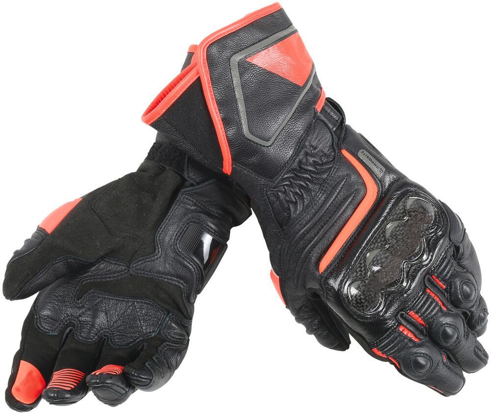 2018 Dain Druide D1 Long Noir Noir Fluo Rouge gants de Moto Moto GP gants de sport