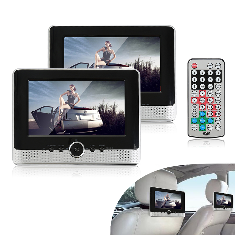 8Headrest DVD Player Car Rear Seat DVD Player Anti-theft Detachable Flat Cover Monitor Adjustable Screen Speaker  Panel Pillow car headrest dvd player pupug beige universal digital screen zipper car monitor usb fm tv game ir remote control two headphones