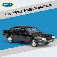 WELLY 1:24 Scale Diecast Simulation Model Car Volkswagen SANTANA Retro Classic Alloy Metal Toy Car For Kids Toys Gift Collection