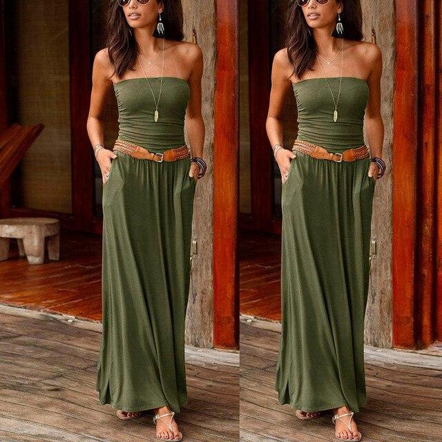 Womens Bandeau Holiday Off Shoulder Long Dress Ladies Summer Solid Maxi Dress 2