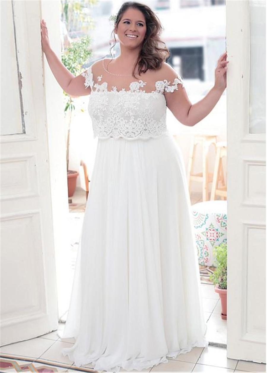 Elegant Sheer Neckline A line Plus Size Wedding Dresses With Lace Appliques Bridal Dress Customized Made Size in Wedding Dresses from Weddings Events