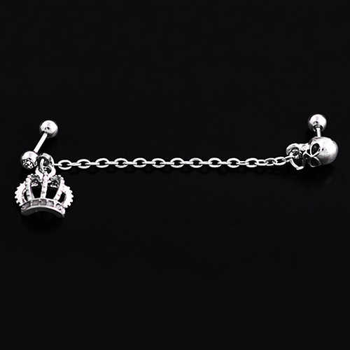 Bluelans w stylu Punk ze stali chirurgicznej korona Skeleton Ear Stud łańcuch kolczyk Piercing biżuteria