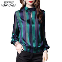 Loose high quality womens tops and blouses Plus Size Stripe Long Sleeve Shirt Women Fashion silk casual thin blouse female lj208