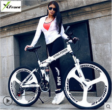 New X-Front 26 inch carbon steel damping folding bike frame mountain bicycle 21 24 27 speed disc brakes One wheel MTB bicicleta