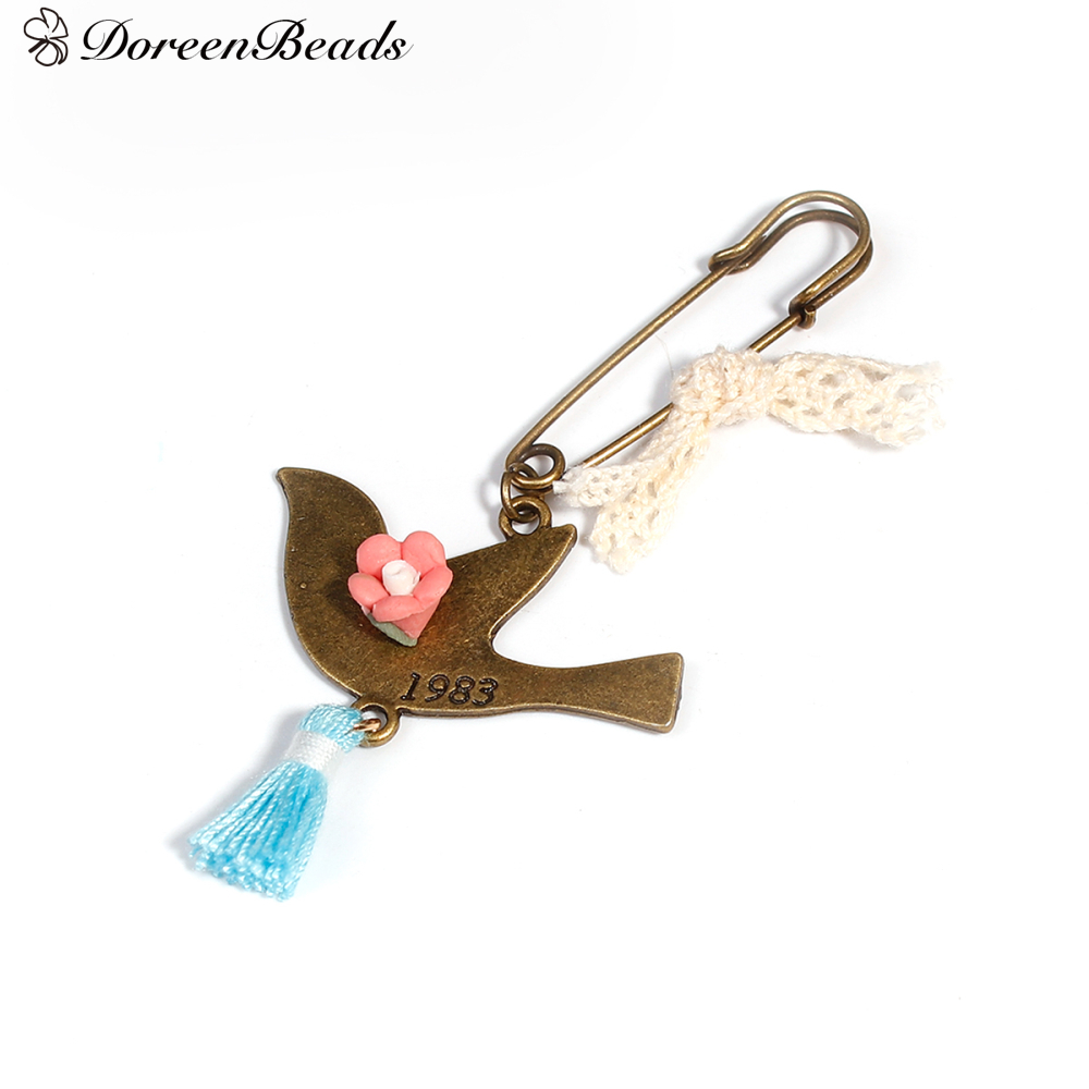 DoreenBeads Safety Pin Pin Badges Bird Animal Tassel Antique Bronze Color Blue 8.2cm(3 2/8) x 4cm(1 5/8), 1 Piece