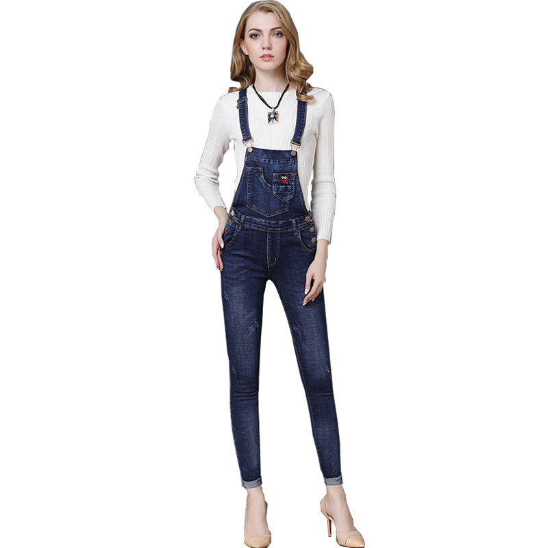 DTYNZ Womens Fashion Denim Bib Overalls Multi Pockets Scratched Jeans Jumpsuits Rompers Suspender Pants For Female Ankle Length new fashion suspender jeans overalls trousers denim female straight dark blue washed women pants jumpersuit rompers