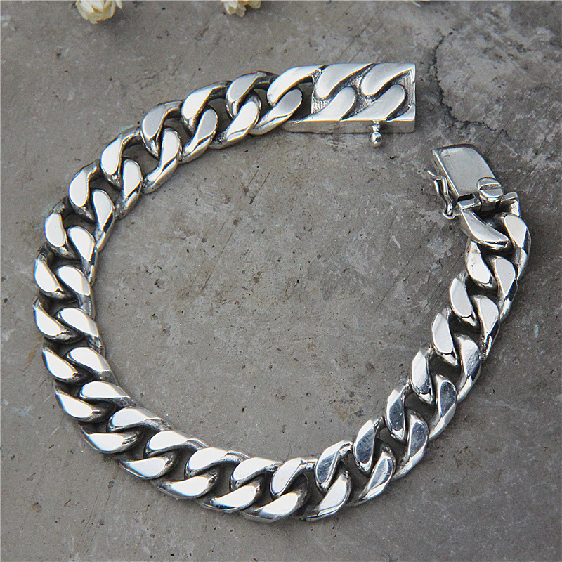 Vintage Retro S925 Sterling Silver Jewelry Retro Thai Silver Curb Chain Punk Bracelet Link Chain Male Biker Silver Bracelet 2018 thai silver jewelry 925 sterling silver men bracelet male domineering personality retro fashion chain link charm bracelet