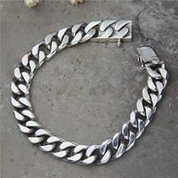 Vintage Retro S925 Sterling Silver Jewelry Retro Thai Silver Curb Chain Punk Bracelet Link Chain Male