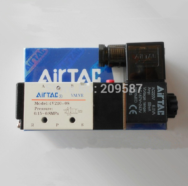5Pcs <font><b>5</b></font> Way <font><b>2</b></font> Position Airtac Electric Solenoid Valve 4V210-08 <font><b>DC</b></font> 24V DC12V AC110V AC220V <font><b>1</b></font>/4