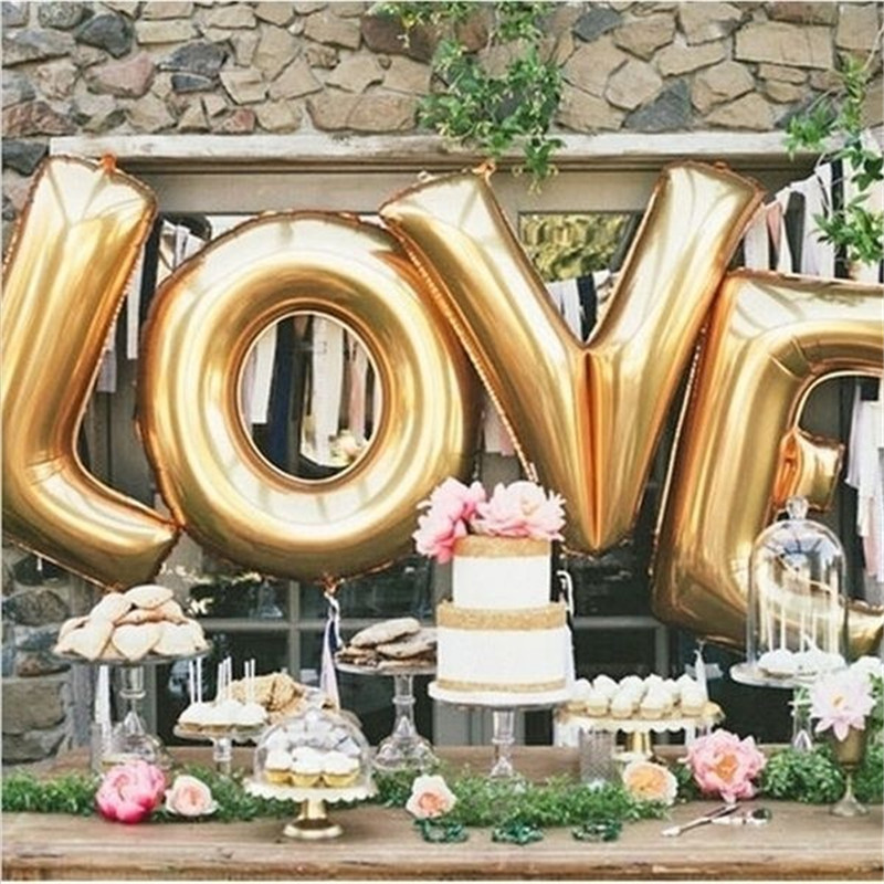 Gold Silver Love Balloons Wedding Room Decoration Balloons Inflatable Balls Balloon Air Valentine Day Decor Beads Home Decor
