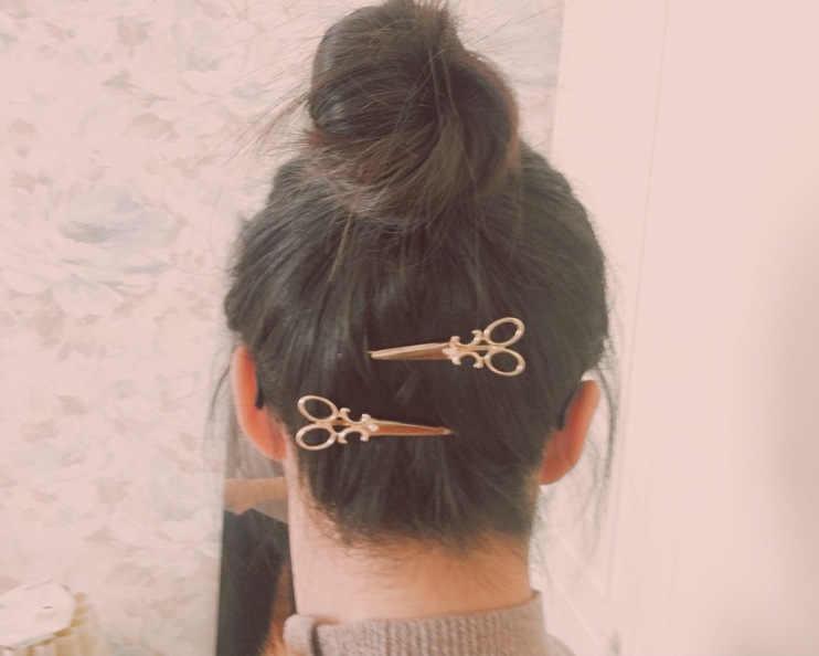 1 Pcs/2019 Baru Sederhana Rambut Aksesoris Emas Perak Jepit Rambut Perhiasan Retro Teks Klip Bulang Grosir