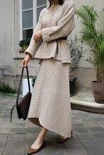 بدلة صوفية أنيقة بلوفر وتنورة غرز مميزة موديل الأزياء الكورية