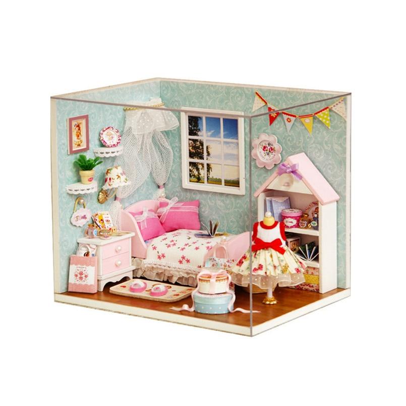 miniature dollhouse furniture diy minatura wooden doll house handmade model building kits birthday gift happy little world building doll furniture