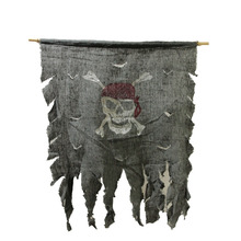 Jolly Roger Tattered Cotton Creepy Pirate Flag Decoration Party Skull and Crossbones Cosplay Halloween