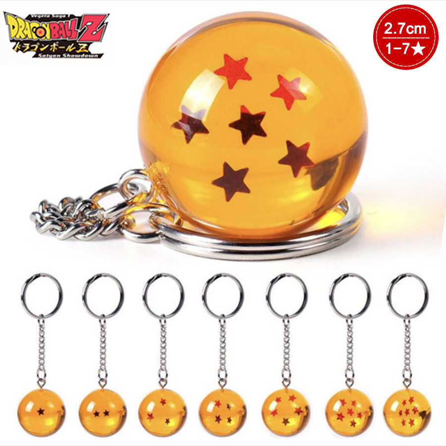 2.7X2.7cm 7 Dragon Ball Crystal 1-7Star Dragon Ball Z Figure Boys Toy PVC Model Anime Collection Kid Toy Car Keychain Pendant