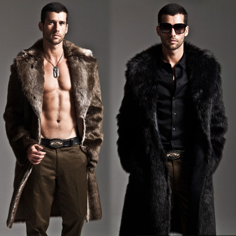 Men Fur Coat Winter Faux Fur Outwear On One Sides Coat Mens Punk Parka Jackets Long Leather Overcoats Genuine Fur Brand Clothing